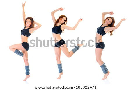 Dancing fitness  young woman. isolated on a white background