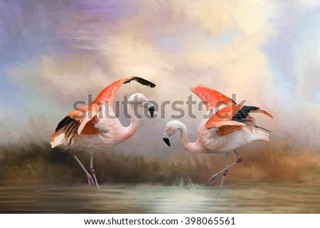 Dancing Flamingos - stock photo