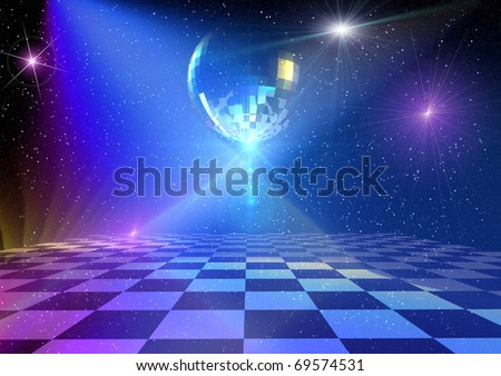 Dancing floor with mirror ball and stars. Rendered 3d background - stock photo