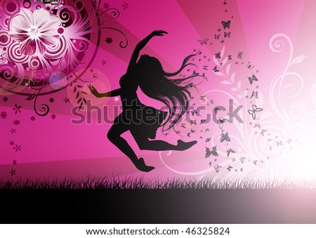 Dancing girl illustration with butterfly