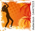 Dancing girl on orange grunge background with palm trees. For vector version of this image please see my portfolio. - stock