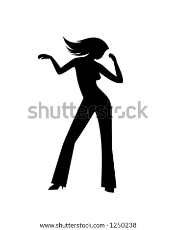 """Dancing girl (#1). To see all my silhouettes, search by keywords: """"agb-svect"""" or """"agb-srastr"""" - stock photo"""