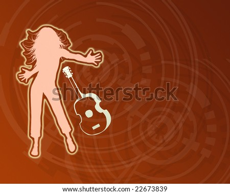 Dancing Girl with music. - stock photo