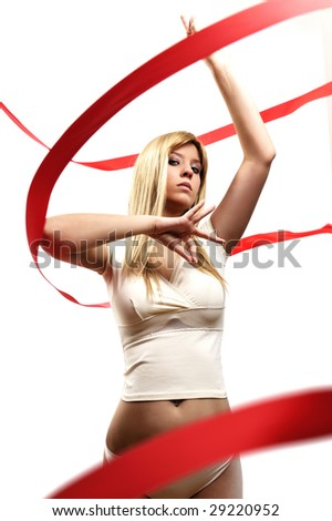 dancing girl With red satin ribbon - stock photo