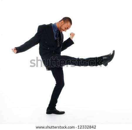 dancing happy winner business man on white - stock photo