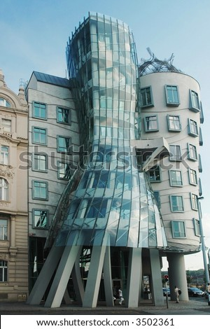 Dancing house building in downtown Prague, Czech Republic - stock photo