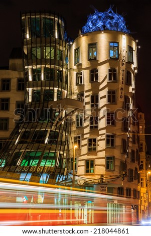 Dancing House, designed by Vlado Milunic and Frank O. Gehry. 9th of September 2014 in Prague, Czech Republic - stock photo