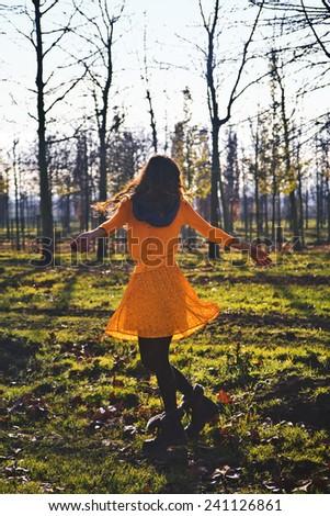 dancing in nature / Feel the Nature / dancing in nature - stock photo