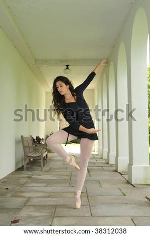 dancing in the corridor - stock photo