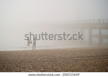 Dancing in the mist - stock photo