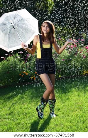 Dancing in the rain - stock photo