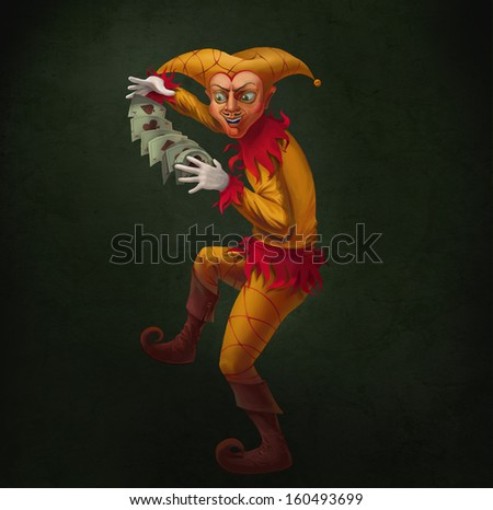 Dancing Joker, throws cards from a hand in a hand. - stock photo