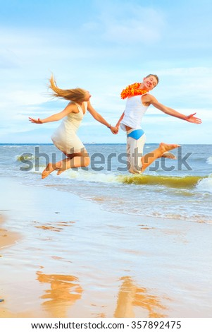 Dancing Joy Beach  - stock photo
