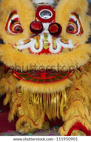 Dancing Lion, Chinese New Year Parade - stock photo
