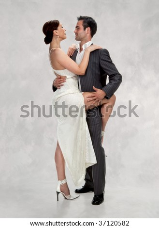Dancing loving couple, happy and funny - stock photo