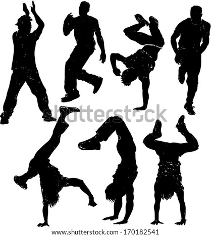 Dancing male silhouettes. Raster version