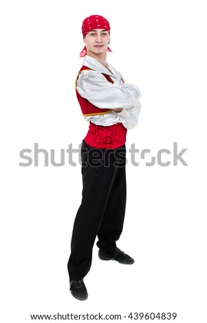 Dancing man wearing a toreador costume. Isolated on white background in full length. - stock photo