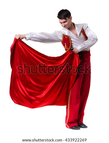 Dancing man wearing a toreador costume. Isolated on white in full length. - stock photo