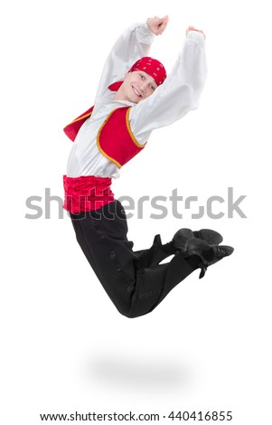 Dancing man wearing a toreador costume jumping. Isolated on white in full length. - stock photo