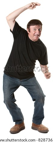 Dancing mature Caucasian man over white background - stock photo