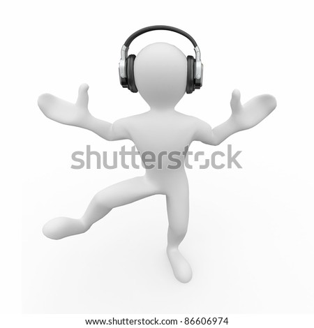 Dancing men in headphones on white isolated background. 3d - stock photo