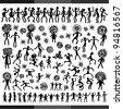 Dancing Men (style petroglyphs) - stock photo
