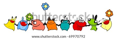 Dancing monsters (raster version) - stock photo
