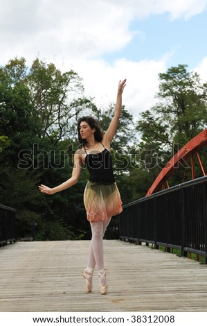 dancing on the bridge - stock photo