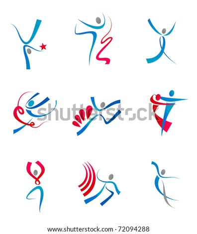 Dancing people and sportsmen icons for design or logo template. Vector version also available in gallery