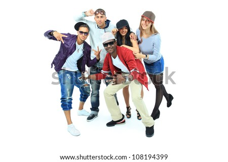dancing people group isolated on white