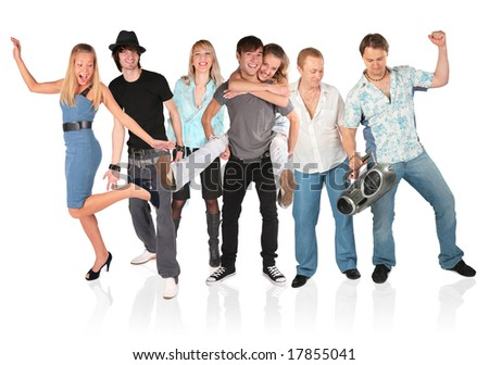 dancing people group isolated on white - stock photo