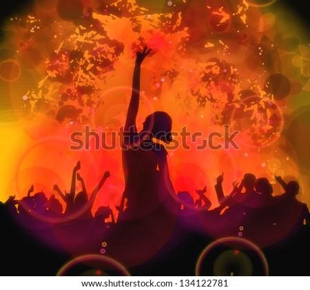 Dancing people. illustration - stock photo
