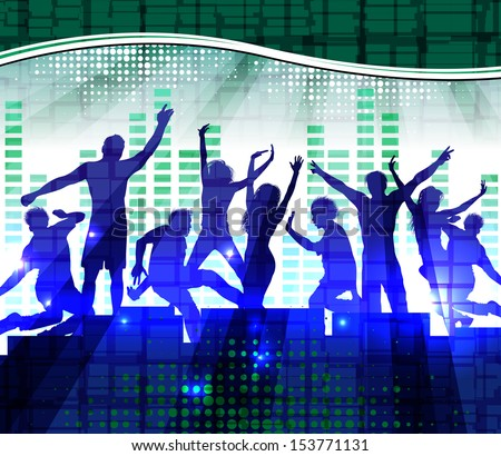 Dancing people, music background. Raster version of vector illustration  - stock photo