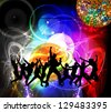 Dancing people. Music event illustration - stock vector