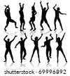 Dancing people silhouettes (also available vector version) - stock vector