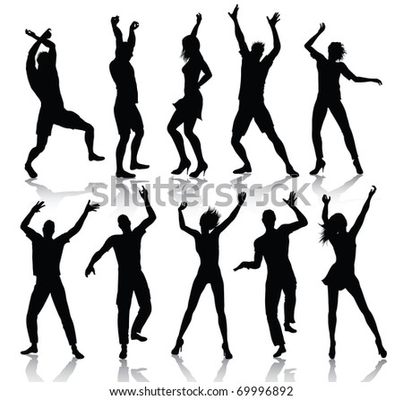 Dancing people silhouettes (also available vector version)