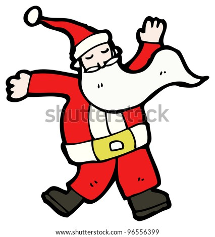 Funny Fat Santa Claus Dancing Partying Stock Illustration ...