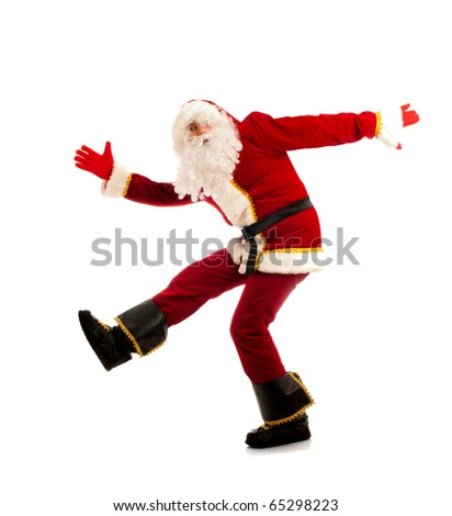 Dancing Santa Claus isolated over white - stock photo