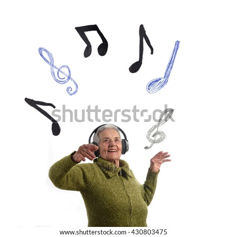 Dancing senior woman - stock photo