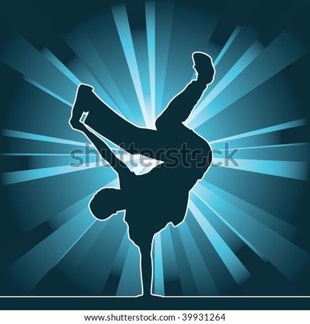dancing silhouette, breakdance, raster version - stock photo