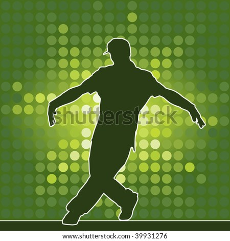 dancing silhouette, breakdance, raster version