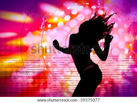 dancing silhouette of girl in a nightclub - stock photo