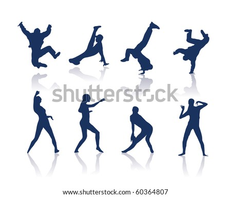 Dancing silhouettes - stock photo