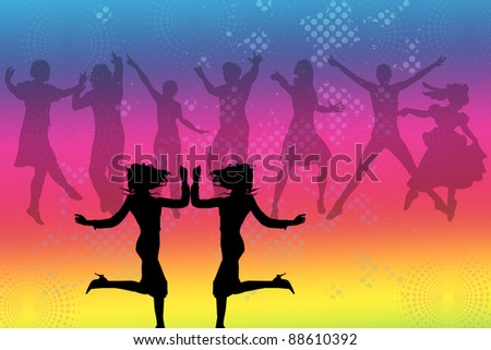 Dancing Silhouettes on multicolored background,two female figures in the front and group of dancers in the back - stock photo