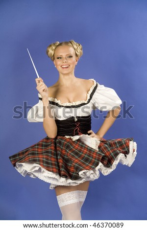 Dancing smiling attractive young girl from German - stock photo