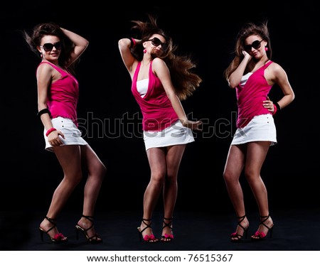 Dancing teenage girl over black background, set of three