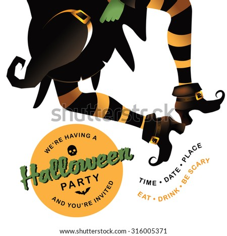 dancing witch halloween party invitation background with copy space - Dancing Halloween