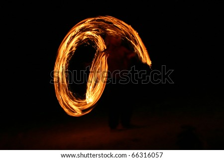 dancing with fire - stock photo
