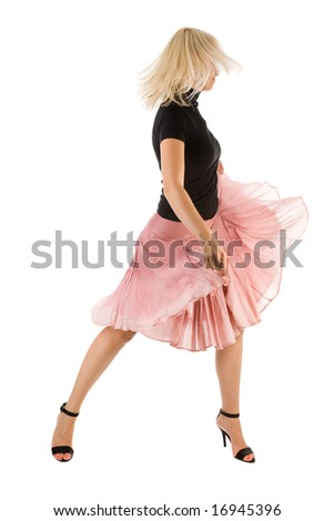 Dancing woman isolated on the white