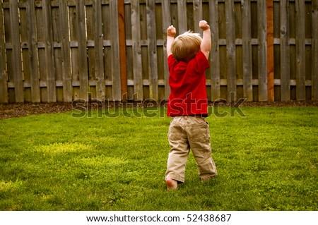 Dancing Young Boy - stock photo